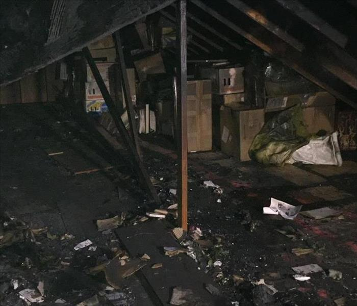 burned up attic much less debris